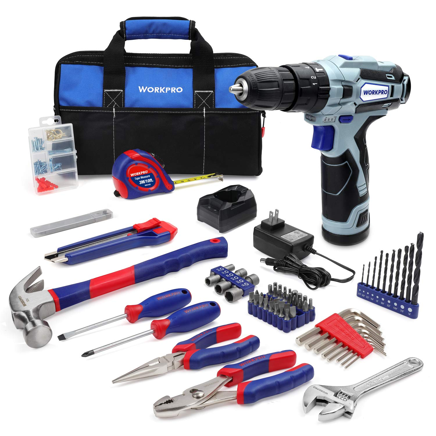 WORKPRO Home Tool Kit and 12V Cordless Drill, 177 Pieces Combo Kit with 14-inch Tool Bag