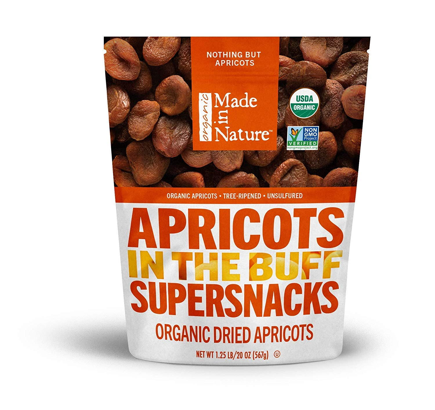Made In Nature Organic Dried Fruit, Pitted Apricots, Vegan Snack, 20 Ounce Bag, 1 Count