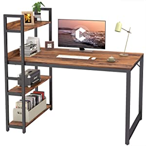 CubiCubi Computer Desk 47 inch with Storage Shelves Study Writing Table for Home Office,Modern Simple Style, Dark Rustic