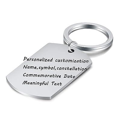 VQYSKO Llaveros Personalizados Acero Inoxidable Letras Laser Texto Personalizado Chapa de Identificación Tipo Militar Regalo con Caja