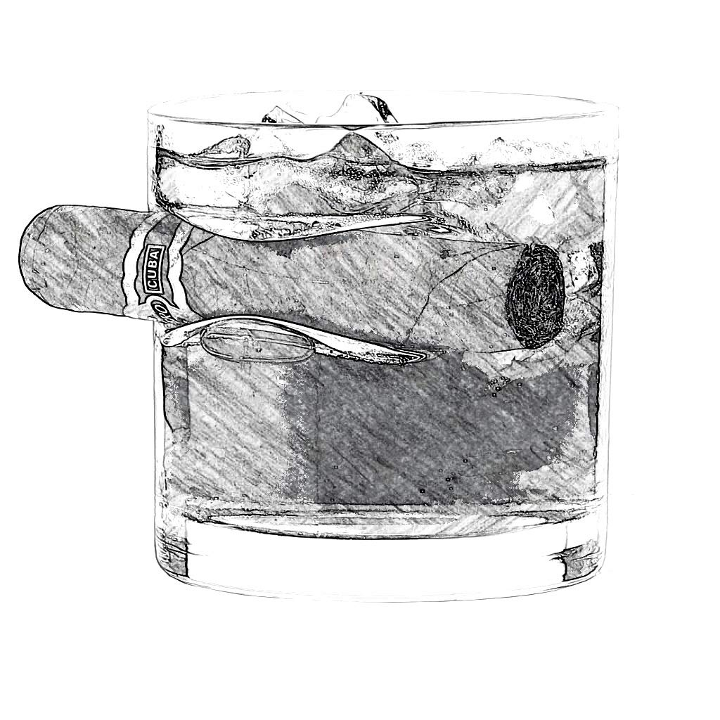 whiskey Cigar Glass - Old Fashioned Whiskey Glass With Indented REST Cigar Rest cigar Companion glass