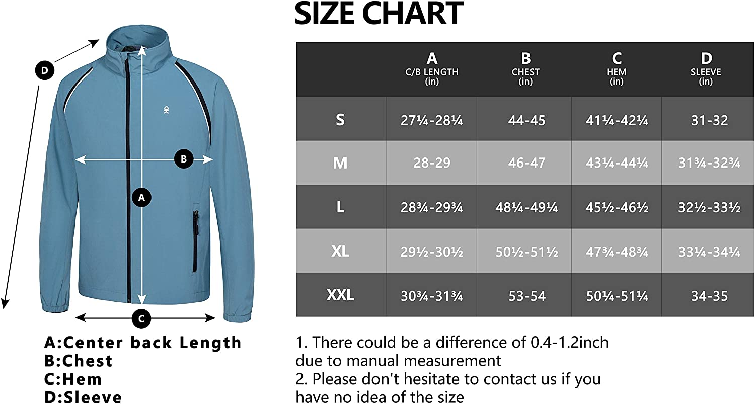 Little Donkey Andy Mens Running Jacket UPF 50+ Breathable Windbreaker Quick-Dry Cycling Jacket with Removable Sleeves