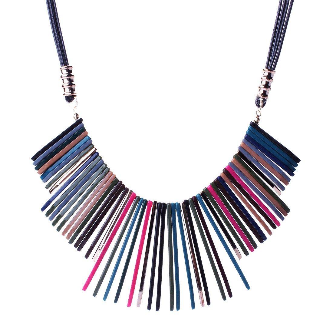 Qiyun Colorful Rainbow Stick Dangle Charm Leather Rope Cord Bib Pendant Necklace Colore Arc Baton Cuir Charme Corde Cordon Collier W005N2261