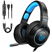 PS4 Gaming Headset,Tenswall ONIKUMA K9 Gaming Headphonefor Xbox One,PC,Switch,PS4,Tablet,Mobile with LED Light Mic, 3.5mm jack Over-Ear stereo with Noise Canceling and Volume Control-Blue