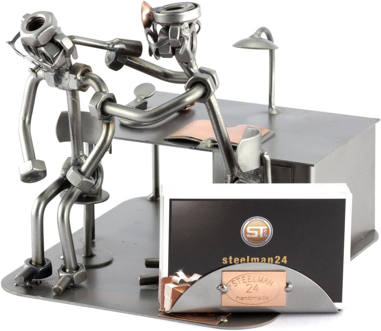 Steelman24 I Omini di Viti Otorino con Portabiglietti da Visita I Idee Regalo Originale I Soprammobili in Metallo I Modellino