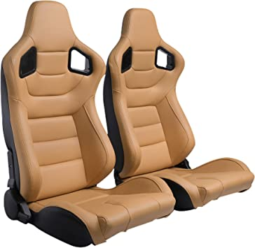 Ship from USA Warehouse Pair of PVC Leather Racing Bucket Seats with Dual Sliders Racing Seats Beige