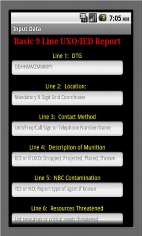 uxo ied 9 line report Training tool representing some of the improvised explosive devices (ied) used  in  forward information to higher hq using standard 9-line uxo report g.