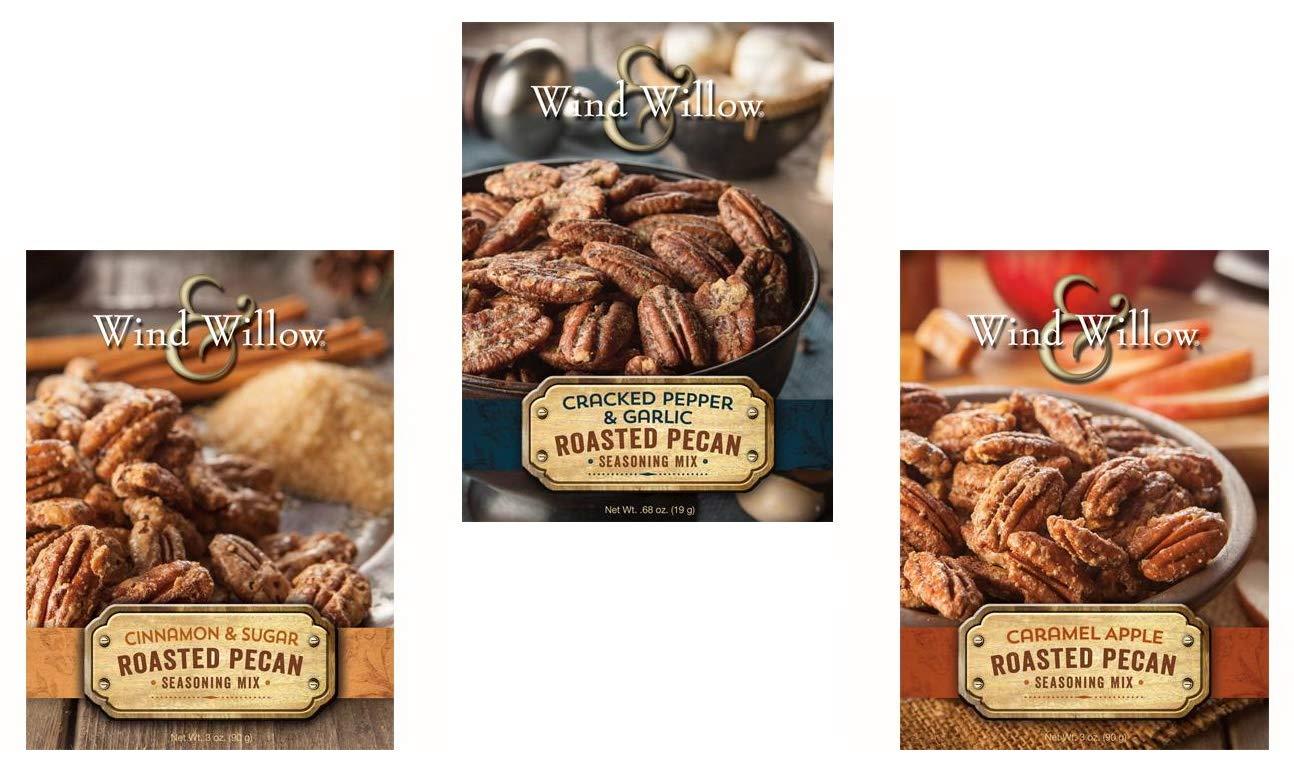 Wind & Willow Roasted Pecan Seasoning Mix Trio - Caramel Apple, Cinnamon & Sugar, and Cracked Pepper & Garlic