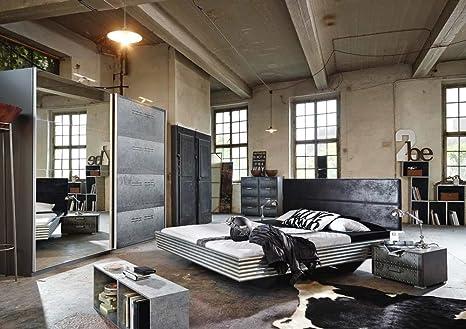 lifestyle4living Camera da Letto nel Industrial-Print/Grafite della ...