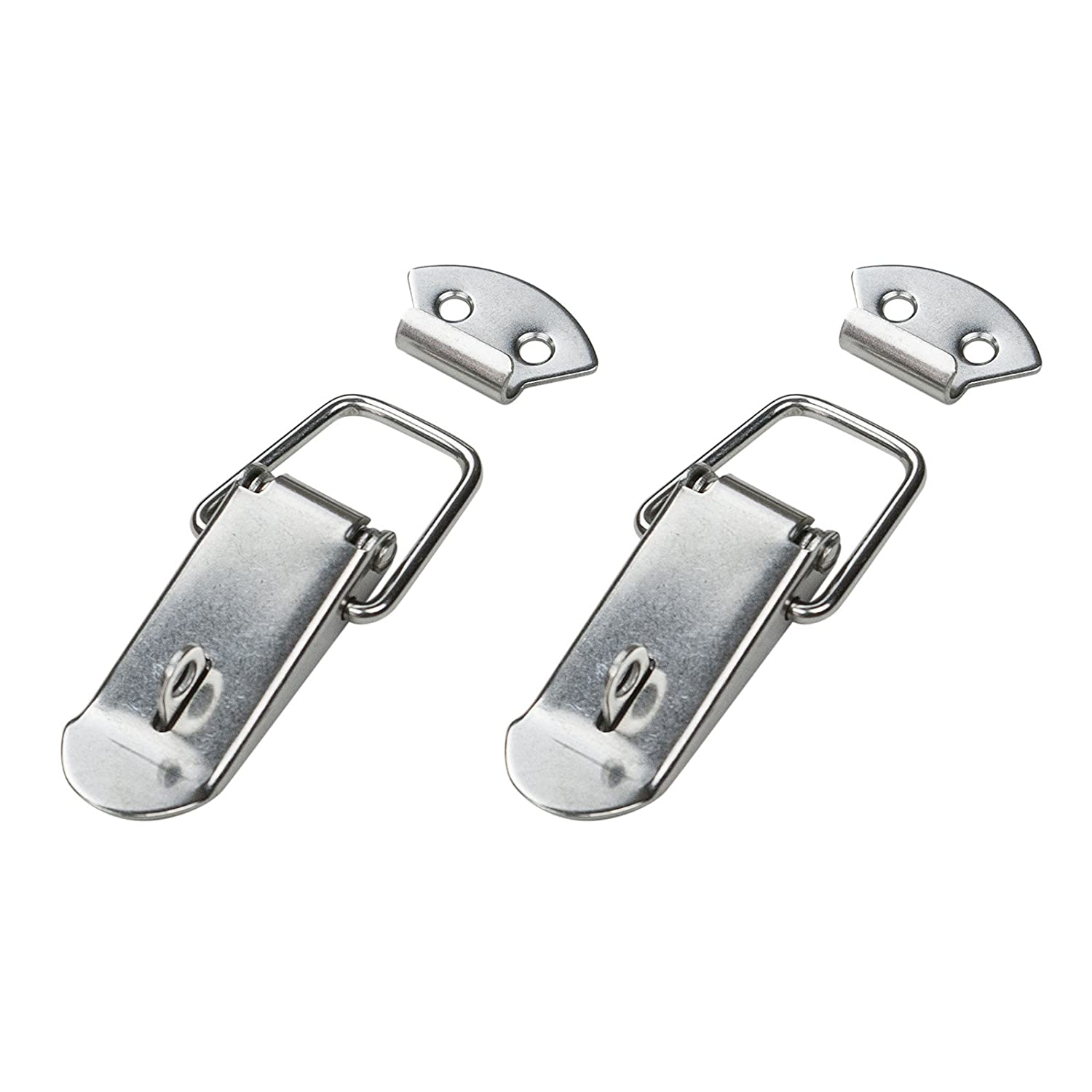 POWERTEC 21101 Stainless Steel Spring Loaded Chest Latch with Catch Plate 2-Pack 5-Inch
