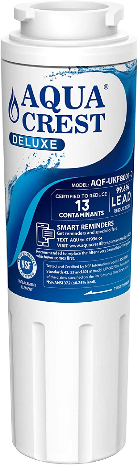 AQUACREST NSF 401,53&42 Certified UKF8001 Refrigerator Water Filter, Compatible with Maytag UKF8001, UKF8001AXX, EDR4RXD1, Whirlpool 4396395, EveryDrop Filter 4