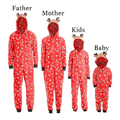 503255aed1c Gooldu Baby Kids Men Women Reindeer Hooded Romper Jumpsuit Family Pajamas  Sleepwear Christmas Outfit