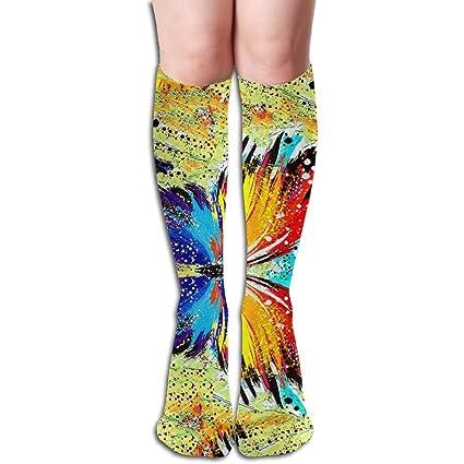 ea3f8d8689f1c Amazon.com: YangAme Paint Splash Butterfly 50 Full Comfort Knee High Socks  Cotton Long Knee High Socks: Home & Kitchen