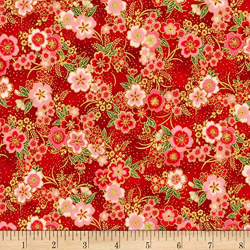 - Robert Kaufman Imperial Collection Metallic 15 Tiny Floral Red, Fabric by the Yard
