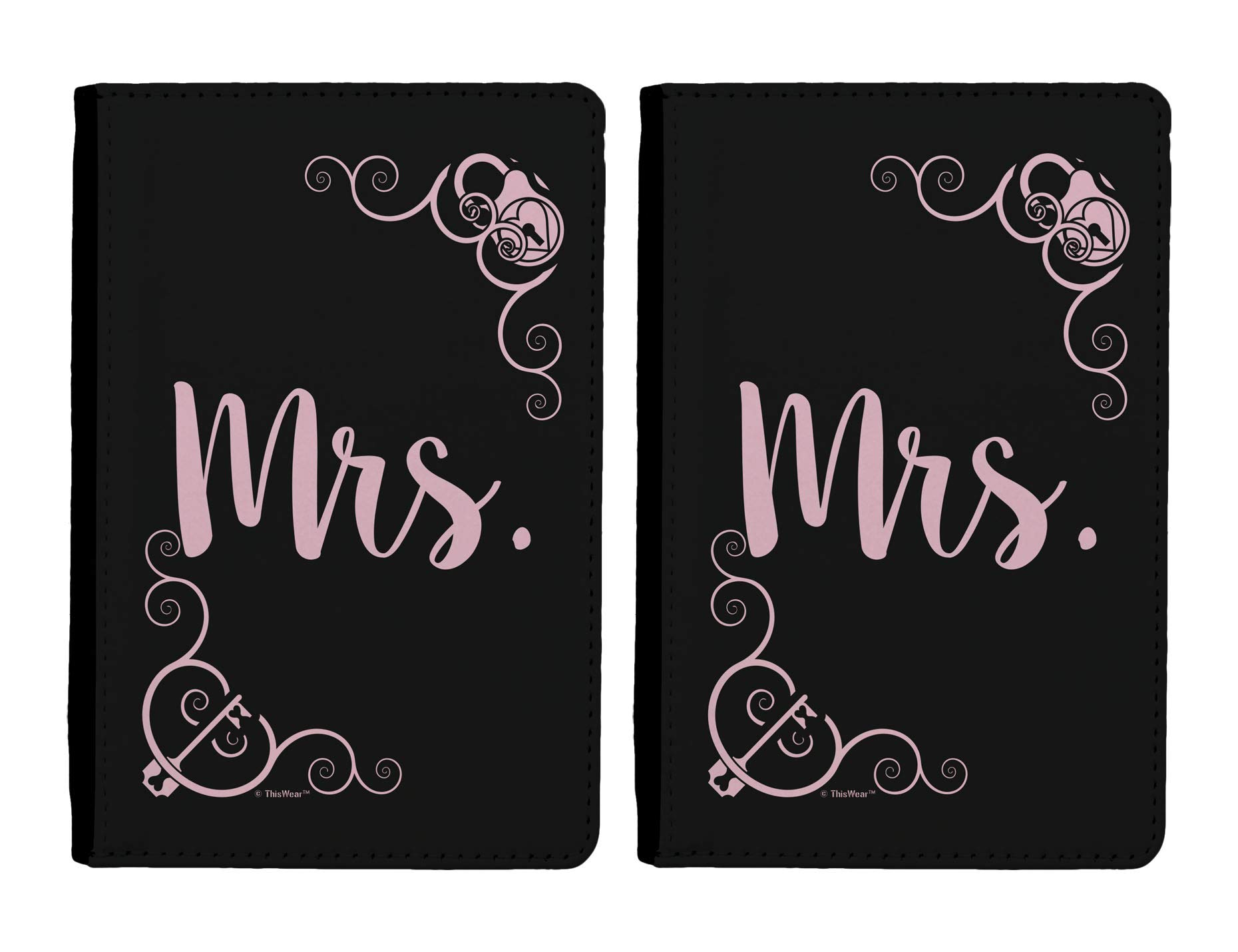 Travel Gifts for Women Mrs Wedding Gift Set 2-pack Full Color Passport Covers Wallet Black & Pink