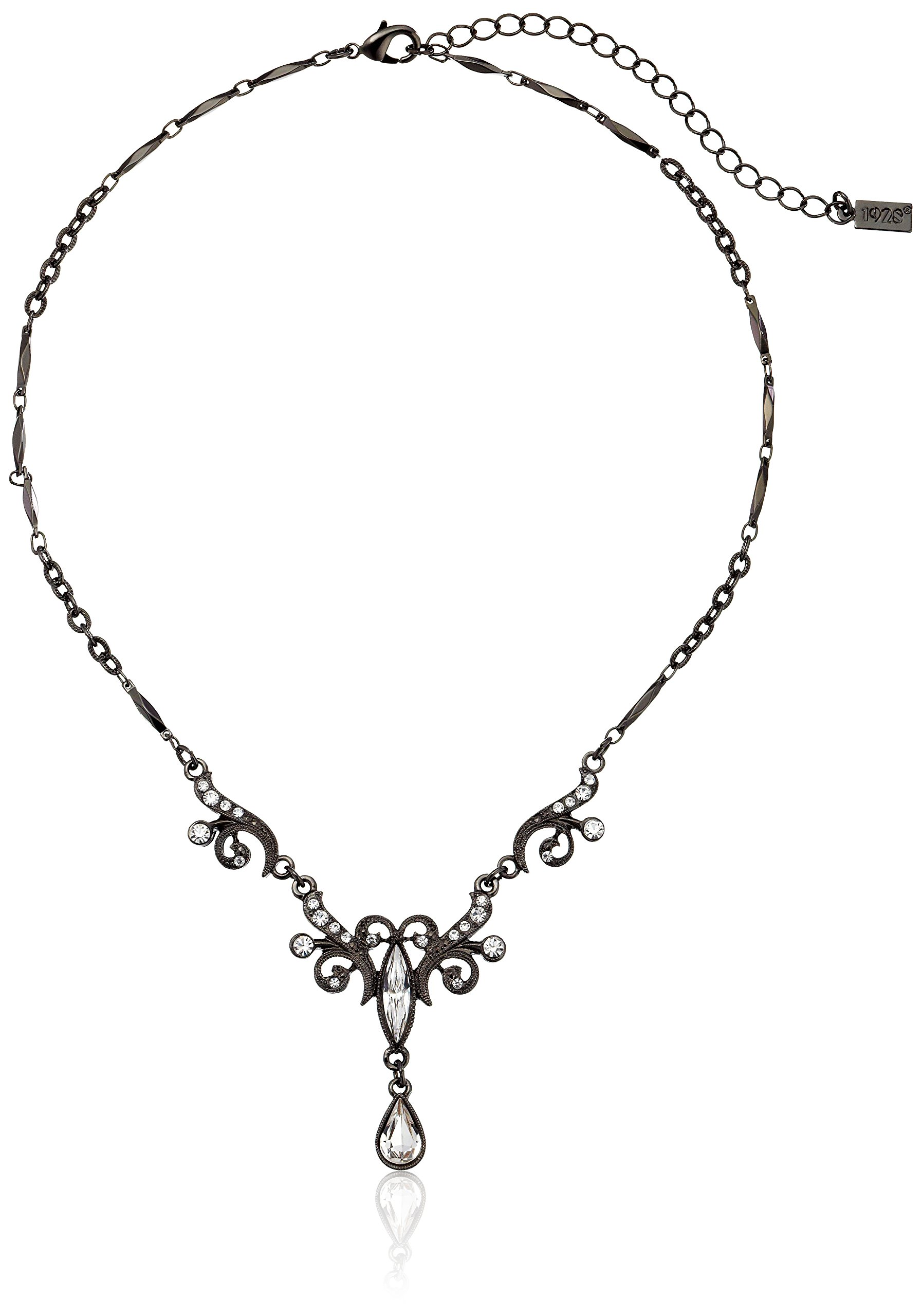 1928 Jewelry Black-Tone Crystal Teardrop Y-Shape Necklace, 15'' by 1928 Jewelry