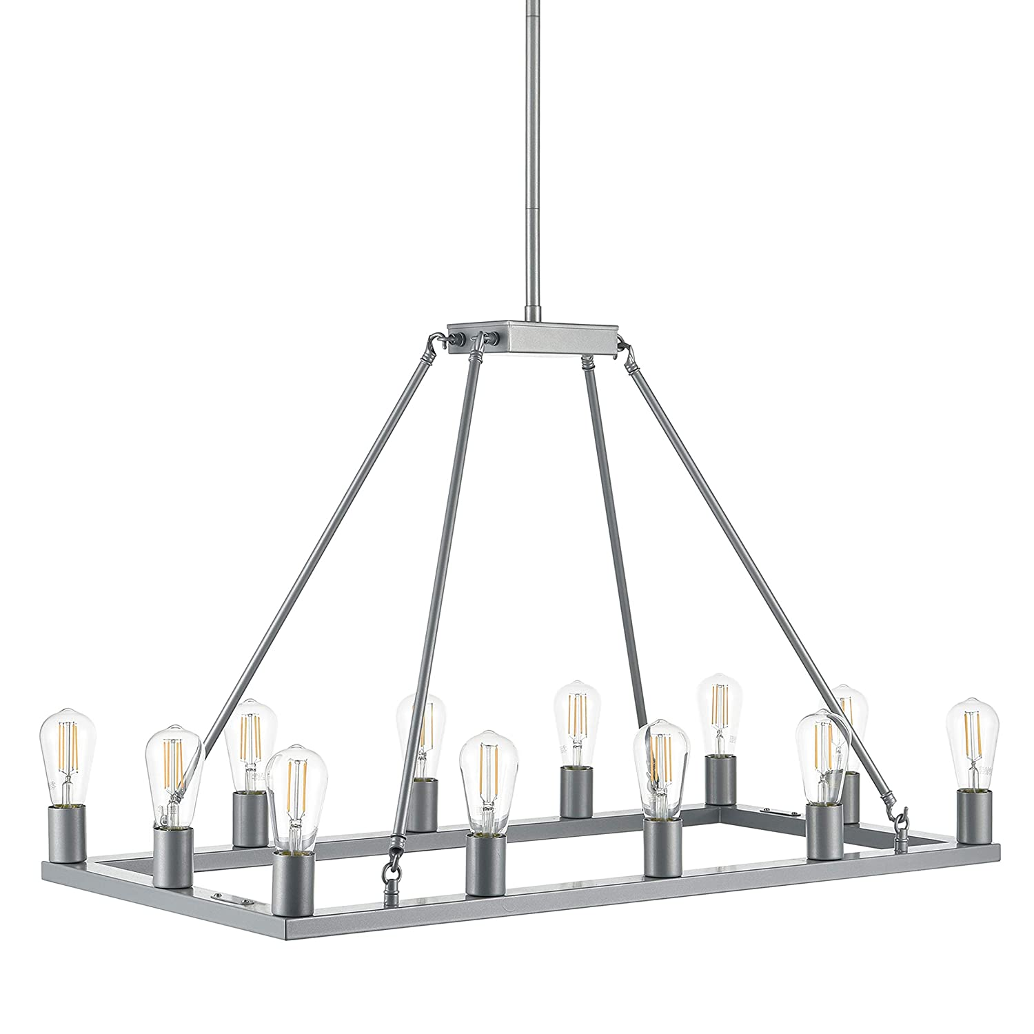 Sonoro Large Rectangular 12 Light Dining Room Industrial Chandelier | Silver Kitchen Island Light Fixtures with LED Bulbs LL-CH5-1836-1SIL