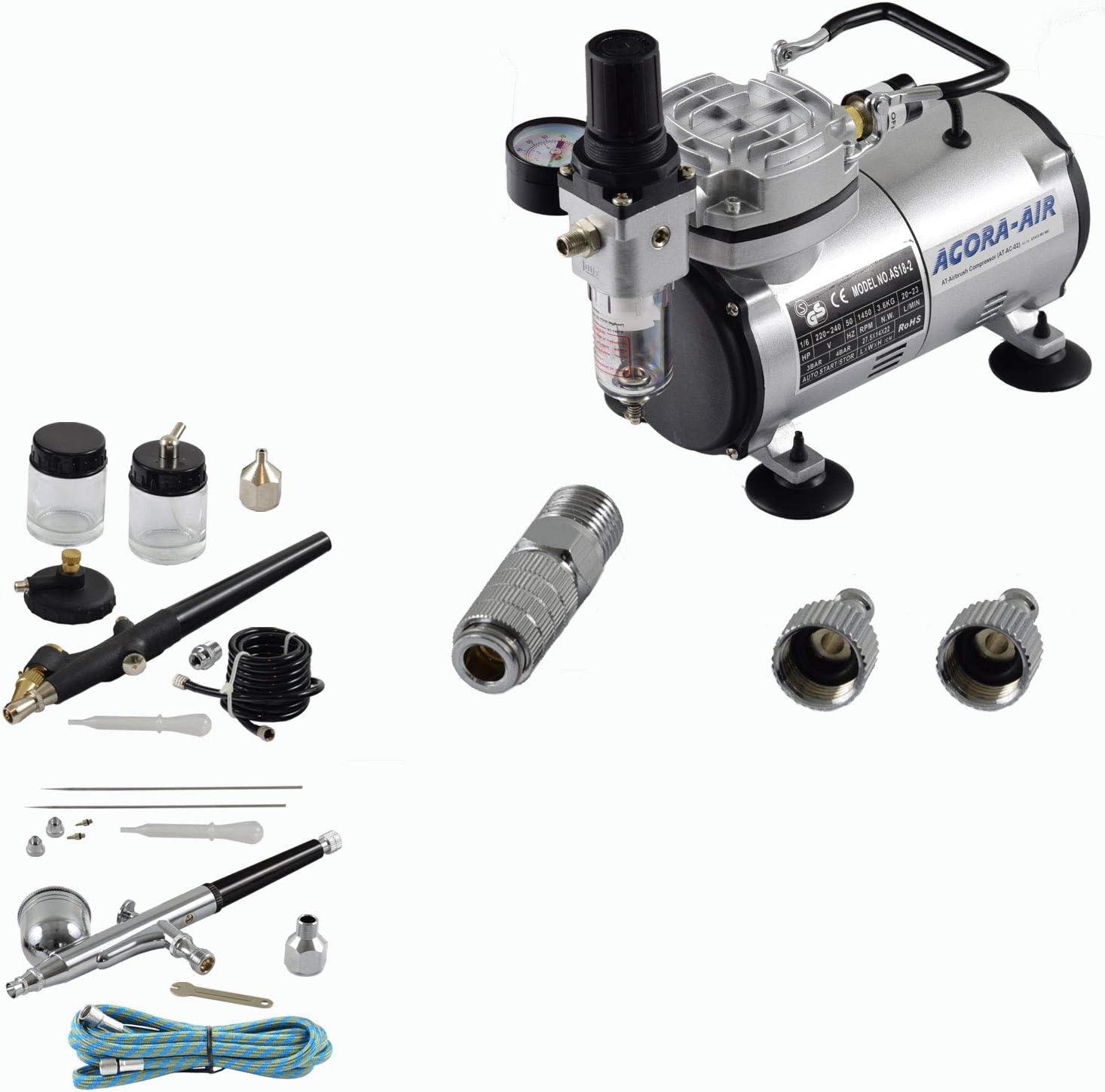 Agora Tec Airbrush Komplett Set Expert I 1 Inkl Kompressor Mit 4 Bar 20l Min 2 Airbrushpistolen Mit 0 2 0 3 0 5 0 8mm Nadeln Düsen 2 Schnellkupplungen 1 Schlauch Adapter Baumarkt
