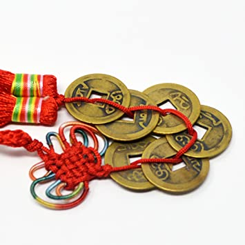 Amazonde Feng Shui 6 Münzen Mit Anhänger Chinesischer Knoten