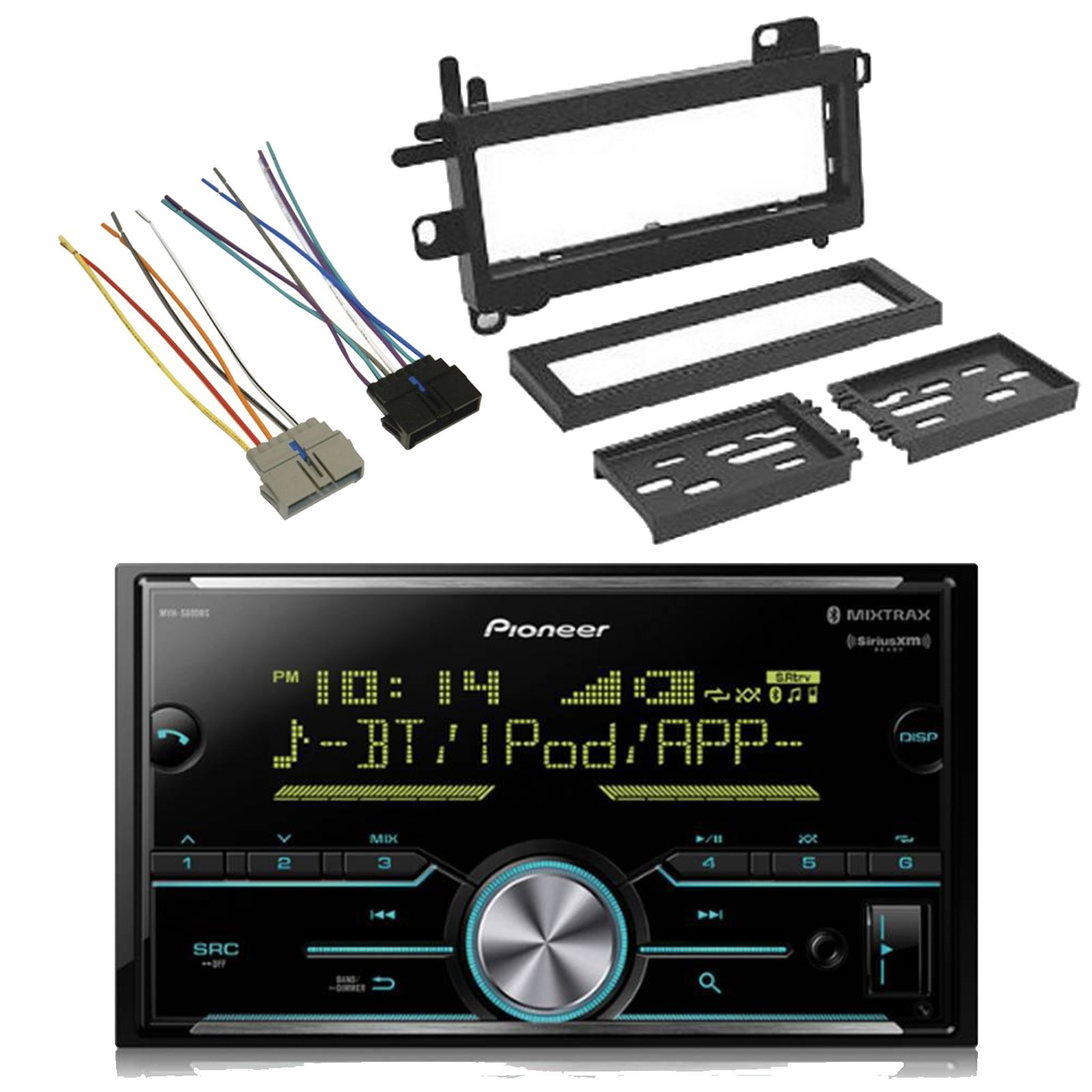 Pioneer MVH-S600BS 2-DIN Digital Media Bluetooth SiriusXM-Ready MIXTRAX Car Audio Receiver, Scosche CR01B Power Connector Wire Harness, w/CJ1279B Dash Kit (Fits 1984-Up Chrysler)