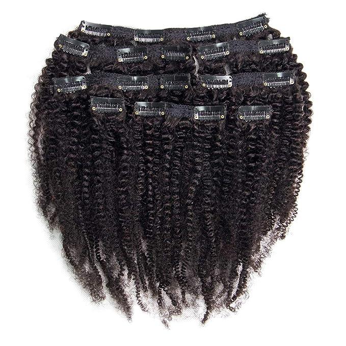 Riya 4B 4C Remy Hair Afro Kinky - Extensiones de pelo humano brasileño para mujer, 120 g