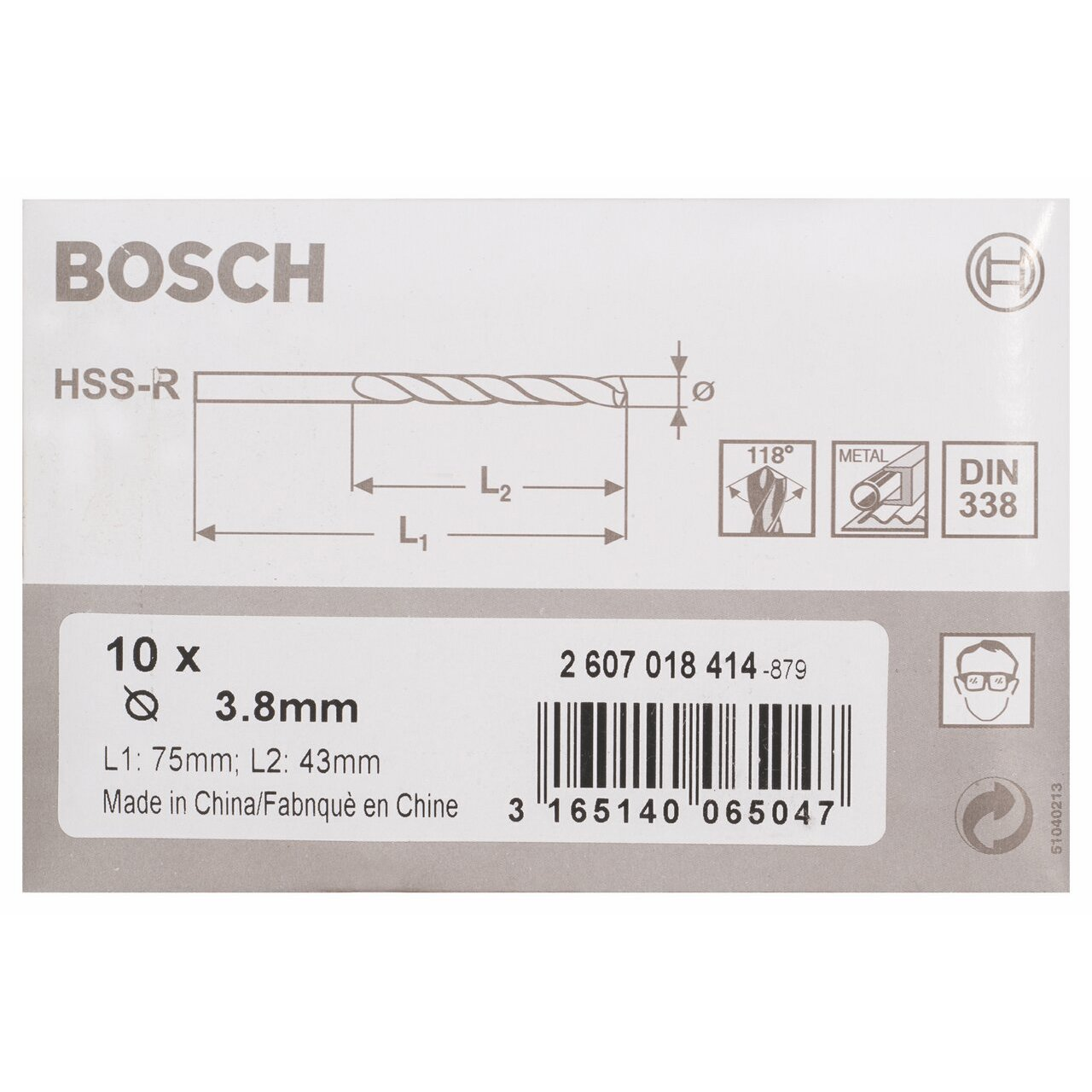 DIN 338 3,5 x 39 x 70 mm Bosch 2 607 018 413 pack de 10 Brocas para metal HSS-R