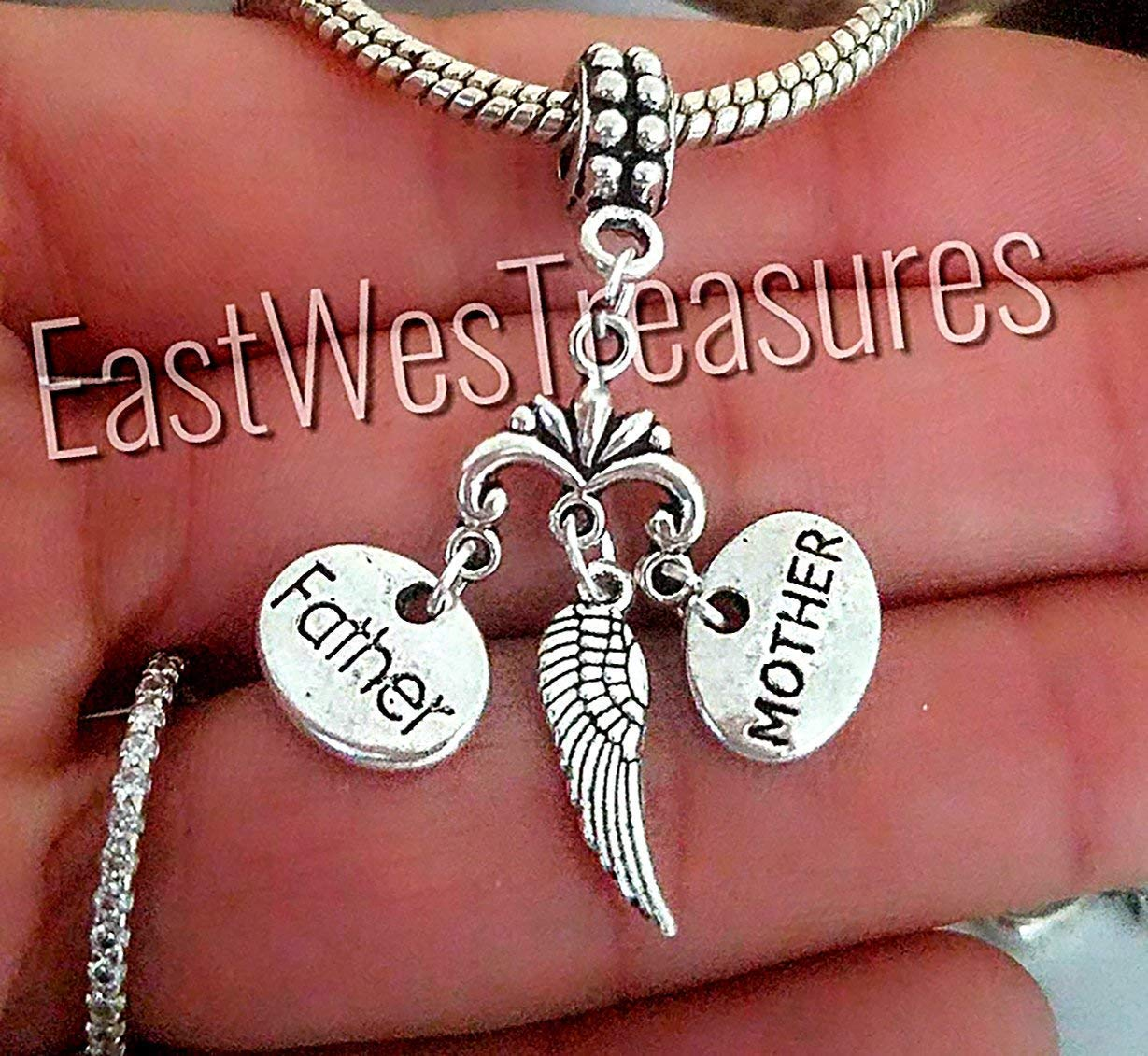 Mom dad mother father Angel wings charms pendant-for charm bracelet & Charm necklaces