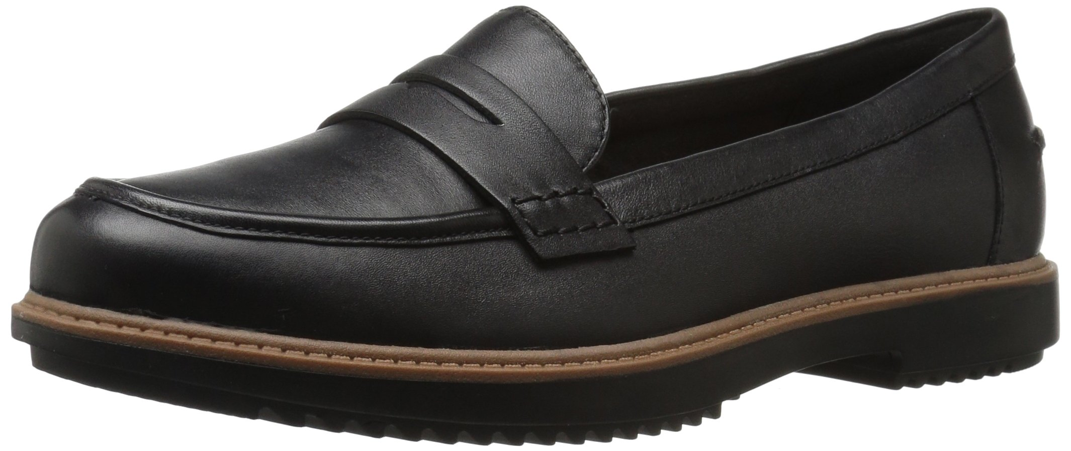 Clarks Women's Raisie Eletta Penny Loafer, Black Leather, 7 M US