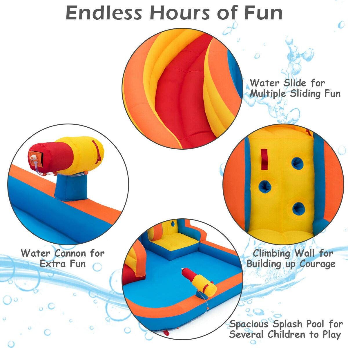 Heize Best Price Orange Inflatable Splash Water Bouncer Slide Bounce House w/ Climbing Wall & Water Hose Splash Pool(U.S. Stock) by Heize Best Price (Image #9)