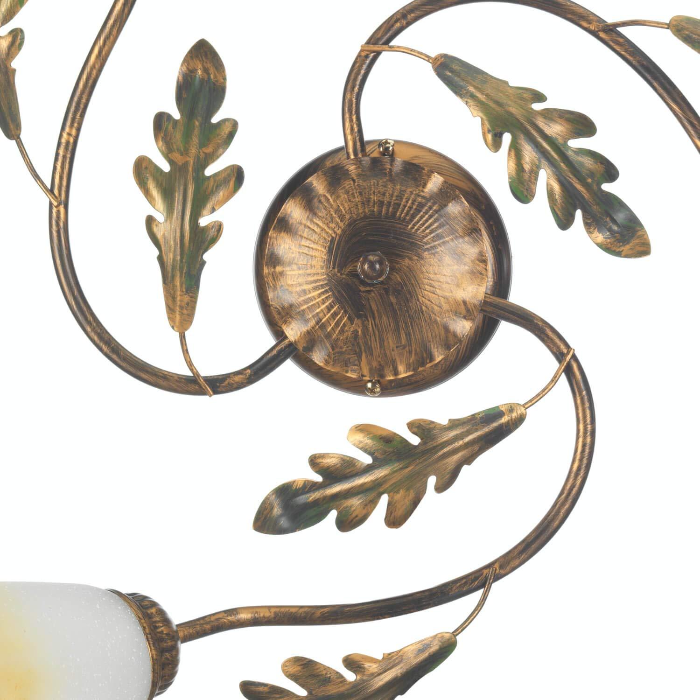 Onli Plafoniera da Muro 3 luci in Metallo Marrone con Decoro Foglie Verdi