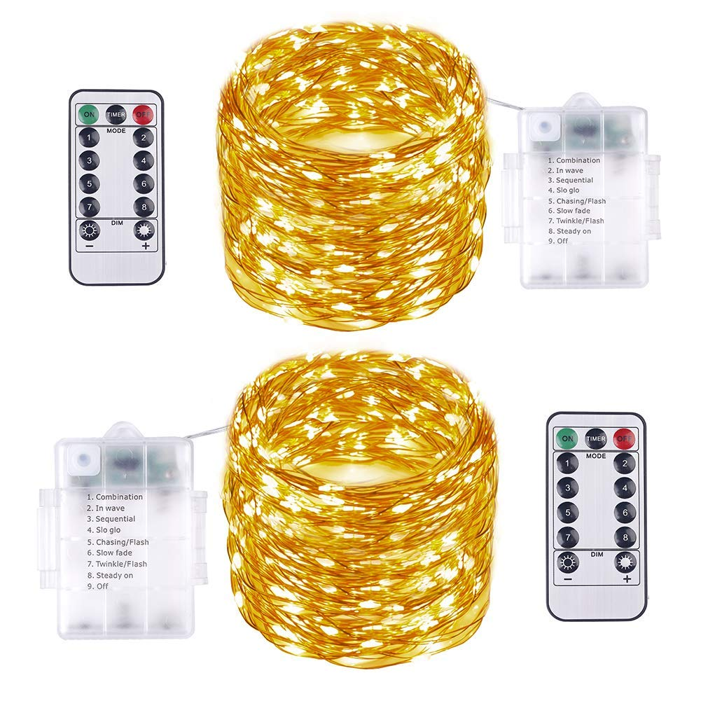 2PCS 10M 100LED Fairy Lights Battery Operated - Vindany Waterproof Remote LED Fairy String Lights 8 Lighting Modes Copper Wire Christmas Lights Good for Wedding Party Garden Christmas Tree