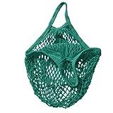Mesh Bag Organic Cotton String Shopping Tote Net Woven Re-usable Bag - Green , 15inch
