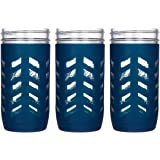 JarJackets Silicone Mason Jar Protector Sleeve - Fits Ball, Kerr 24oz (1.5 pint) Wide-Mouth Jars (Midnight - 3 Pack)