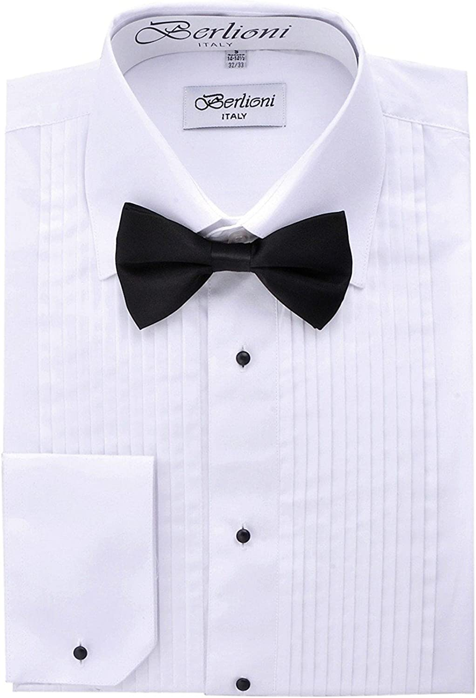 Berlioni Italy Mens Tuxedo Dress Shirt Wingtip /& Laydown Collar with Bow-Tie