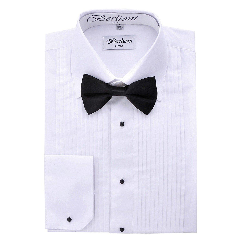 Berlioni Italy Men's Tuxedo Dress Shirt Wingtip & Laydown Collar with Bow-Tie
