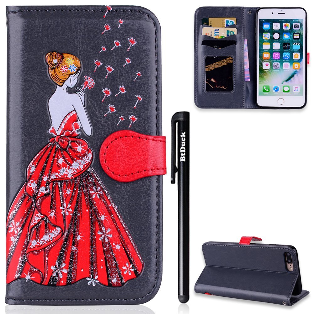 Cover for iPhone 7 Plus,iPhone 8 Plus Case,BtDuck Flip Wallet Phone Case Clear Cover Leather Wallet with Cards Holder Cover Shockproof Phone Protector Kickstand Function Cover Anti-slip Magnetic Close Case Slim Fit Flip Stand Case Glitter for Girl for iPh