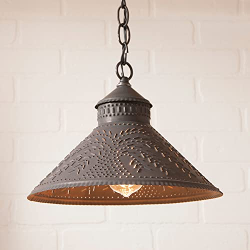 Irvin s Country Tinware 686WLBT – Stockbridge Pendant Light with Punched Willow Design in Blackened Tin