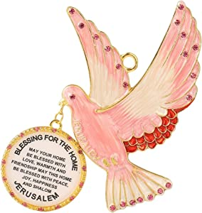 Matashi English Judaica Pink Dove Home Blessing Hanging Wall Ornament Crystals (Pewter) Beautiful Decor for Kitchen, Living, Family Room Intricate Design Peace, Joy, Happiness, Success