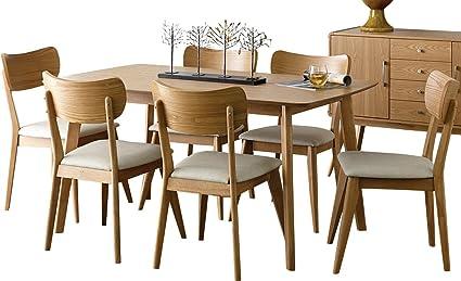Beau Amboy 7 Piece Danish Mid Century 60 Inch Dining Set In Light Ash   Table U0026