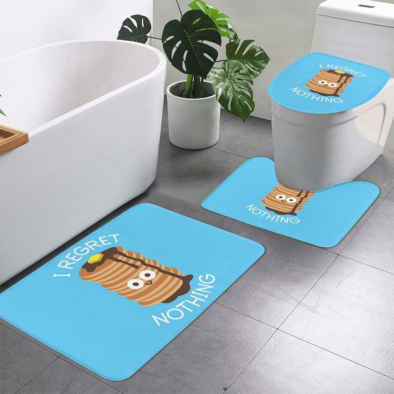 Bathroom Rug Set 3 Piece, Funny Food Printed Non Slip Bath Mat + U-Shaped Contour Rug + Toilet Lid Cover