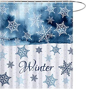 MAEZAP Winter Snowflake Christmas Shower Curtain Blue White Bathroom Decor Waterproof Polyester with Hooks 69x70 Inches