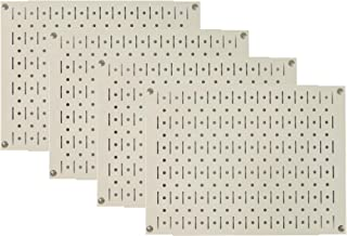 product image for Pegboard Wall Organizer Tiles - Wall Control Modular Beige Metal Pegboard Tiling Set - (4) 12in Tall x 16in Wide Tan Cream Colored Peg Board Panel Wall Storage Tiles - Easy to Install (Beige)