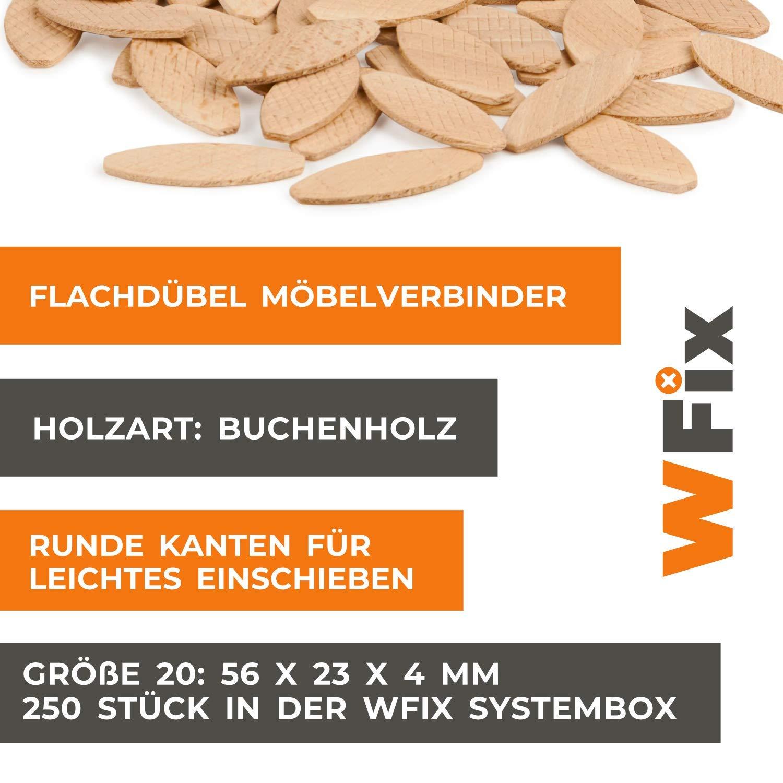 250 St/ück Holzd/übel wie Lamello 20 Kompatibel mit D/übelfr/äse /& Lamellofr/äse Flachd/übel Gr/ö/ße 20 von WFix Buchen D/übel in Eurobox
