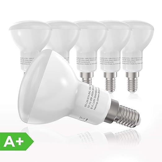 5x6W Bombillas LED E14 Ø 50 mm IP20, Color de la luz blanco cálido 2700K 450lm, halógenos de 60W, 230V