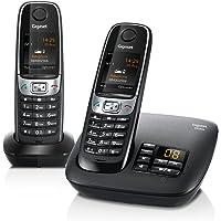 Gigaset C620A Telefon/Schnurlostelefon/2 Mobilteile - Farbdisplay/Dect-Telefon - mitAnrufbeantworter/Freisprechen/Analog Telefon, schwarz