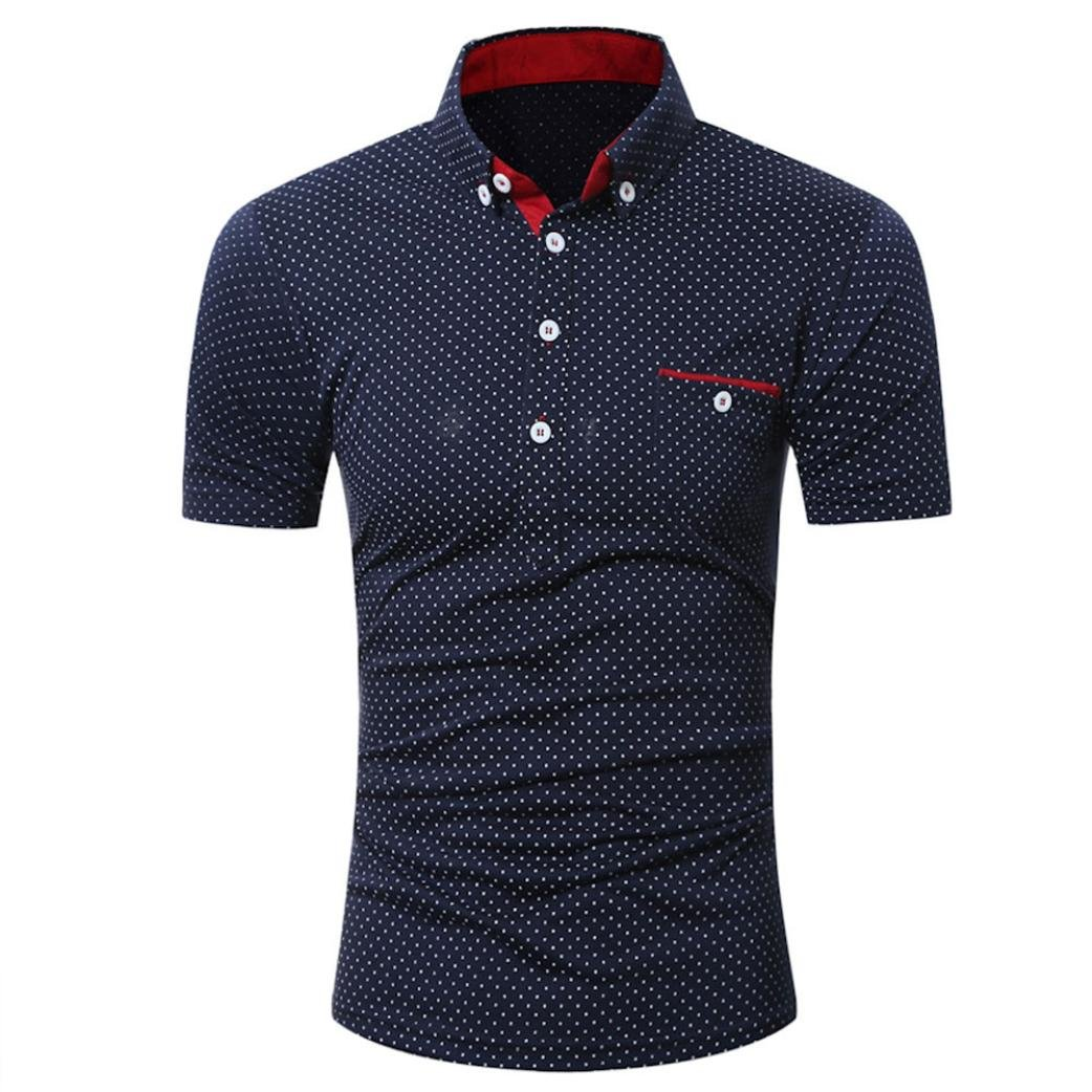 Clearance Men's Shirts Casual, Bestoppen Mens Summer Short Sleeve Business Formal Shirt Workwear Slim Fit Dot Printed Polo Tops T Shirt Plus Size 1/4 Button Collar Blouse Shirt