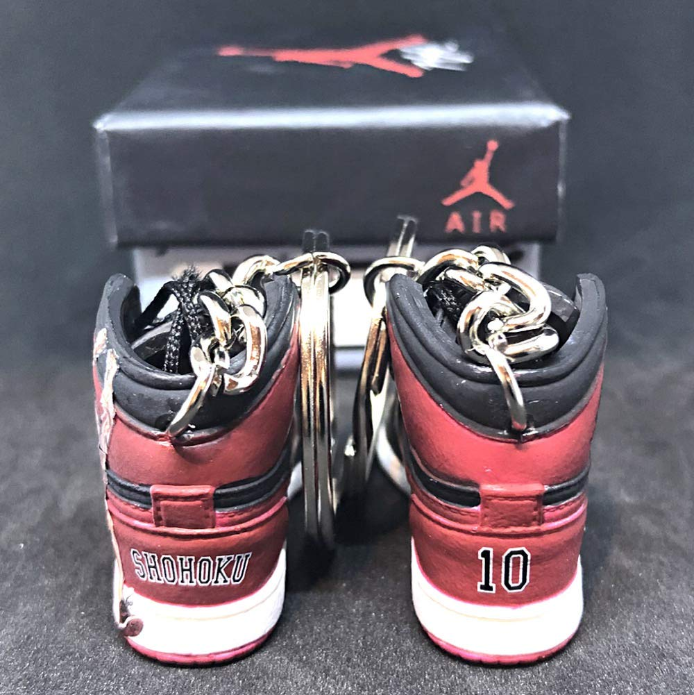 0735c5afa51e Amazon.com  Pair Air Jordan 1 I High Bred Retro x Slam Dunk Anime Hanamichi  Sakuragi OG Sneakers Shoes 3D Keychain Figure with Box  Everything Else
