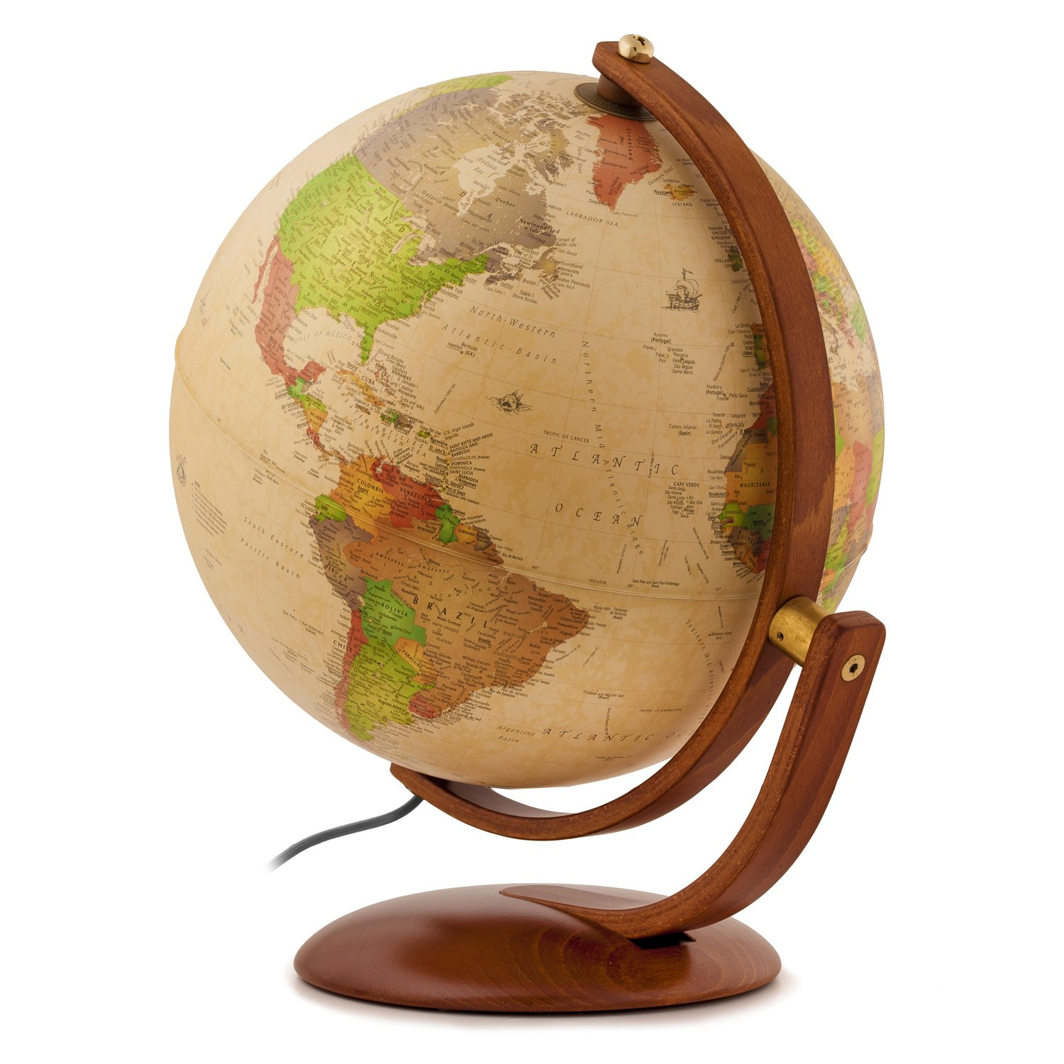 Classic Antique Waypoint Geographic Andorra 12 Political Landmass /& Classic Antique Oceans Illuminated UP-TO-DATE Desktop Globe with Multi-Directional Wood Meridian /& Base Perfect for Home /& Office