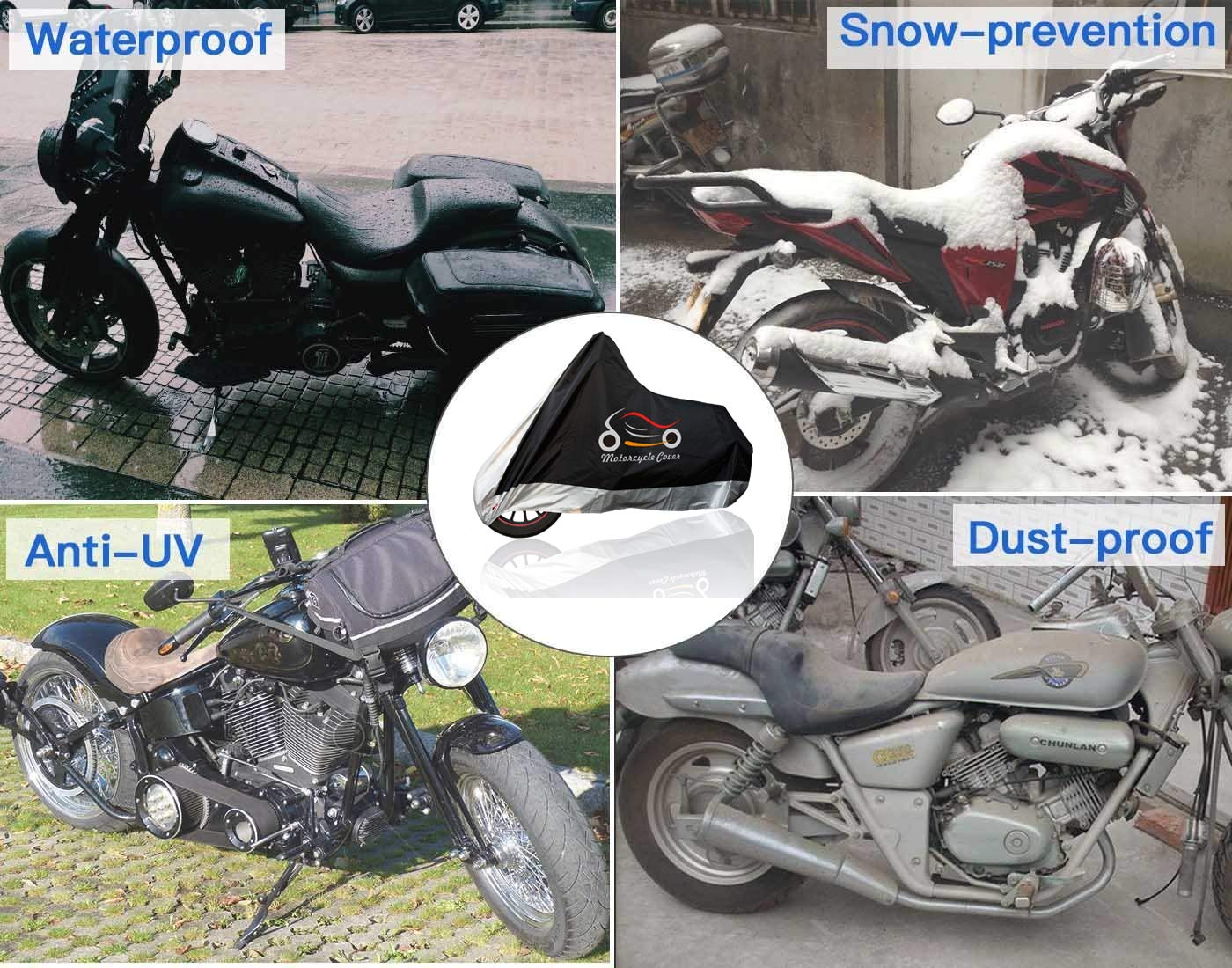Durable 420D Oxford Fabric Harley etc Suzuki Yamaha All Weather Indoor Outdoor Protection Waterproof Motorcycle Cover Upgraded Fits up to 108 Motors include Honda