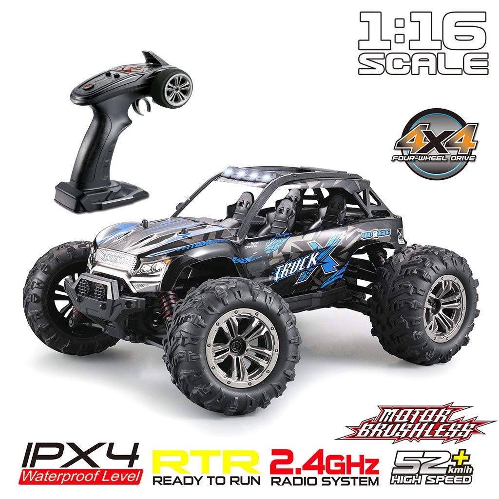 ASfairy Q902 1:16 2.4G Scale Large RC Cars 52km/h+ Speed | Boys Remote Control Car Off-Road Brushless Motor Vehicle | All Terrain Waterproof Toys Trucks for Kids and Adults